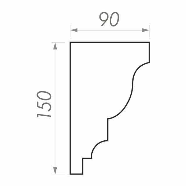 Фасадный карниз ФК-44 H 150x90