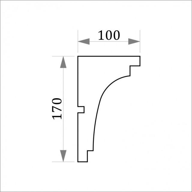 Фасадный карниз ФК2 H 170x100