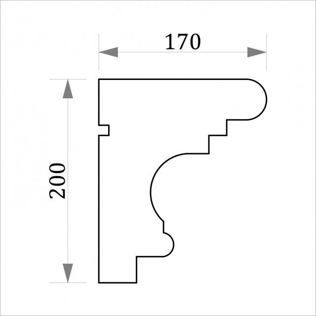 Фасадный карниз ФК39 Н 200х170