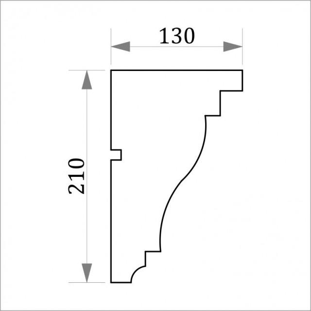 Фасадный карниз ФК7 H 210х130