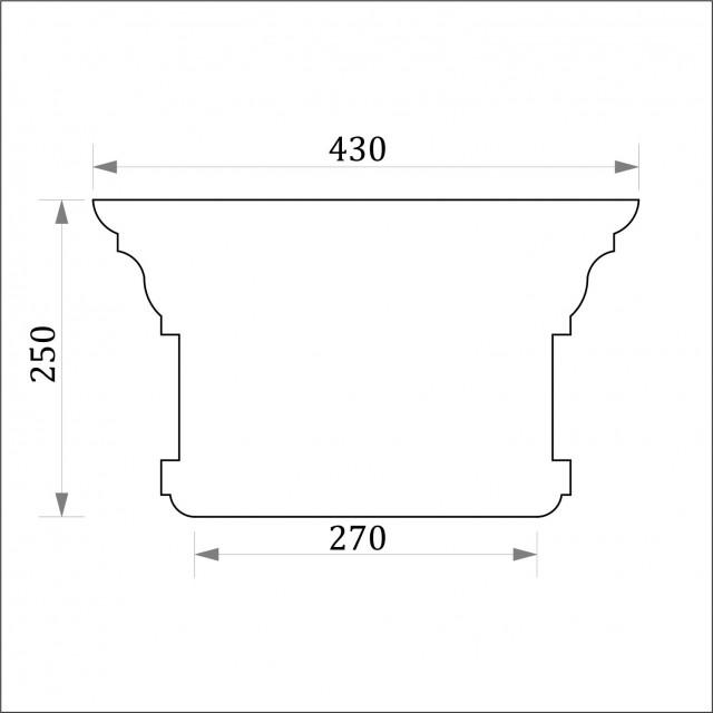 Капитель пилястры ФКП 3 угловая (h 250)
