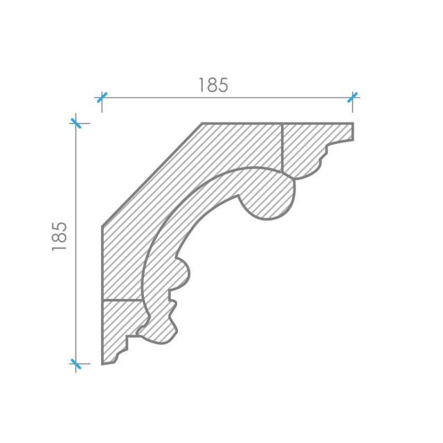 Карниз из гипса к-125 h185х185мм