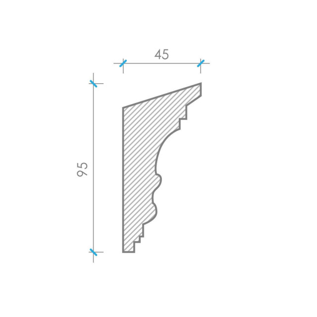 Карниз из гипса к-14 h95х45мм