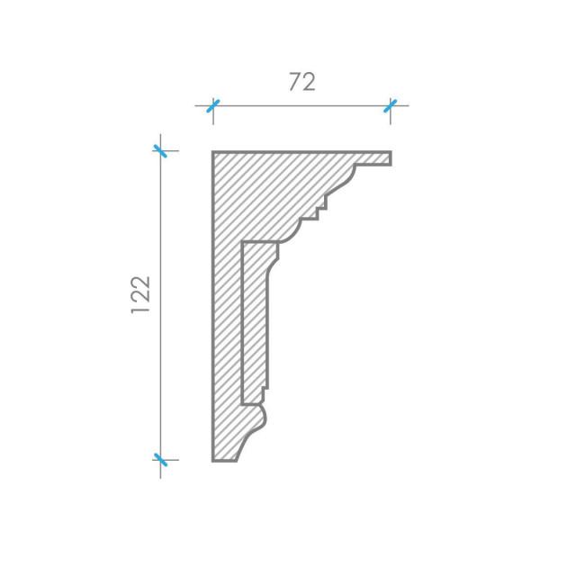 Карниз из гипса к-33 122х72 мм