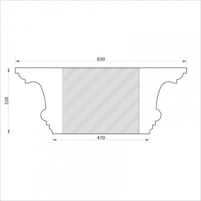 Капитель квадратная ФКК 12 h320 (d450)