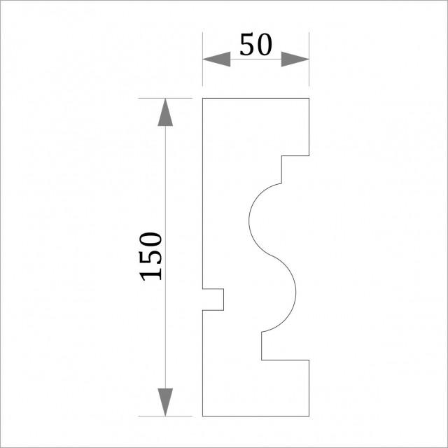 Фасадный молдинг (наличник) ФМ 13 (h 150)