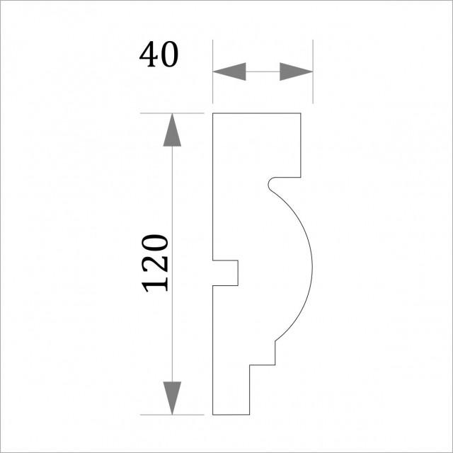Фасадный молдинг (наличник) ФМ 25 (h 120)