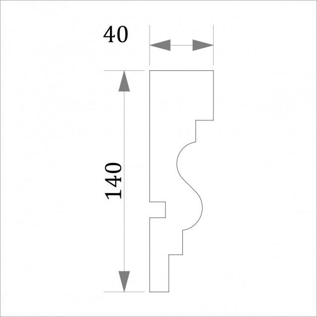 Фасадный молдинг (наличник) ФМ 2 (h 140)