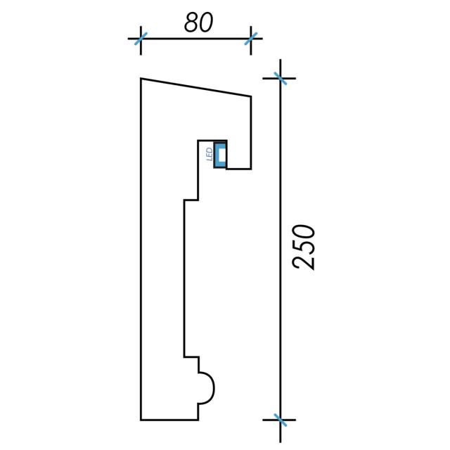 Фк световой-8 h250х80мм